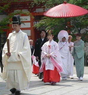 wedding, shinto shrine